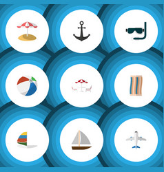 Flat icon summer set of wiper aircraft sphere vector