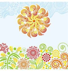 Floral nature pattern background with sun vector