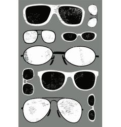 Grunge set of retro glasses vector
