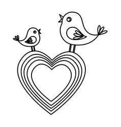 Heart and birds icon vector