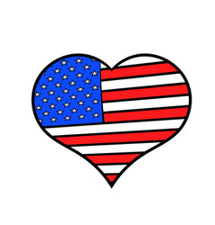 Heart in the usa flag colors icon cartoon vector