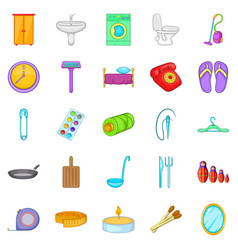 Household icons set cartoon style vector