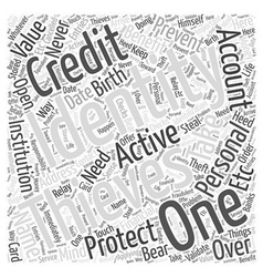 Identity theft prevention protection word cloud vector