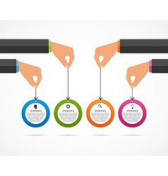 Infographics design template human hands holding vector