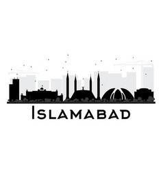 Islamabad city skyline black and white silhouette vector
