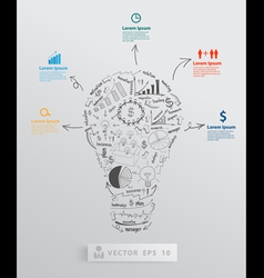 Light bulb with element drawing business success vector