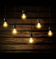 light bulbs with glowing light vector image