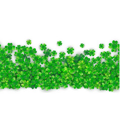 Patricks day seamless background with four green vector