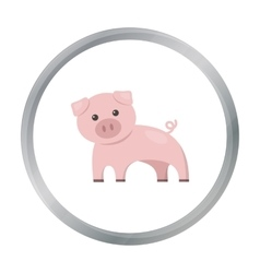 Pig cartoon icon for web and mobile vector