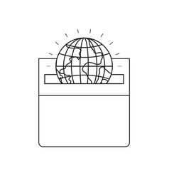 Silhouette front view flat globe earth world vector