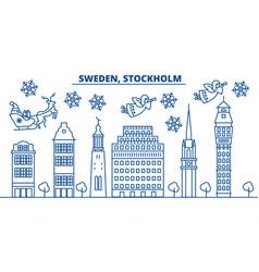 Sweden stockholm winter city skyline merry vector