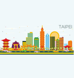 Taipei skyline with color buildings and blue sky vector