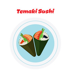 temaki on platetemaki set sushi tuna salmon vector image vector image