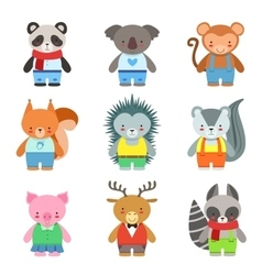 Toy Animals Dressed Like Kids Characters Set vector image vector image