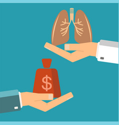 Transplant lungs patient hand hold money doctor vector