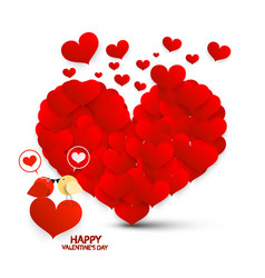 valentine card valentines day symbol with hearts vector image