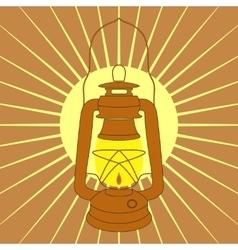 Vintage mine kerosene lamp over yellow sunrise vector