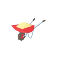 Wheelbarrow icon in cartoon style vector