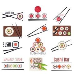 Japanese sushi bar or restaurant menu set vector