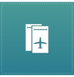 Airline ticket flat icon vector