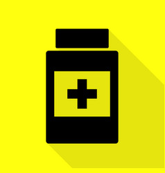 Medical container sign black icon with flat style vector