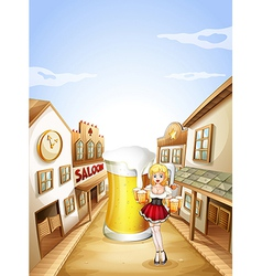 A girl holding a beer in front of a big glass of vector image