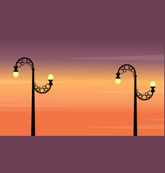 At sunset street lamp landscape collection vector