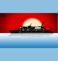 Silhouette of touristic pleasure boat sailing on vector