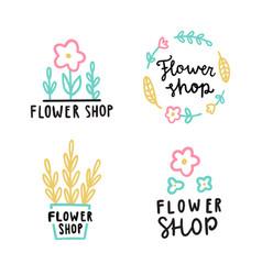 Flower shop logotype set vector