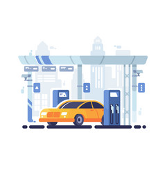 Car fueled at gas station vector