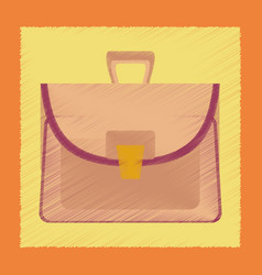 Flat shading style icon school bag case vector