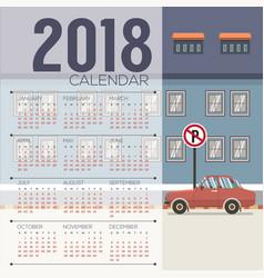2018 cityscape printable calendar starts sunday vector