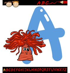 Letter a for anemone cartoon vector