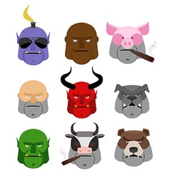 Set serious head evil muzzles of animals and vector