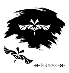 Stylized decorative bird mask tattoo silhouette vector