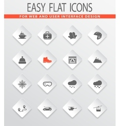 Skiing icons set vector