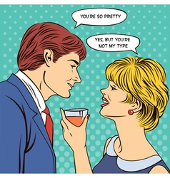 Flirting couple man flirts with a woman pop art vector