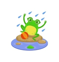 Cartoon frog character playing under rain vector