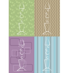 Lava lamps on four different pattern backgrounds vector
