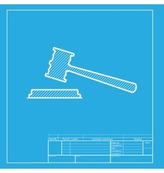 Justice hammer sign white section of icon on vector