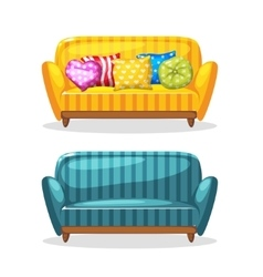 Sofa soft colorful homemade set 1 vector