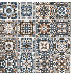 A collection of ceramic tiles in blue and brown vector