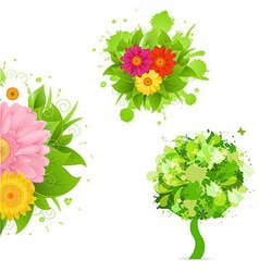 Abstract flowers and blot set vector