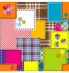 Background made of colored sewed patches vector image vector image