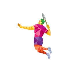 Badminton player jump smash low polygon vector