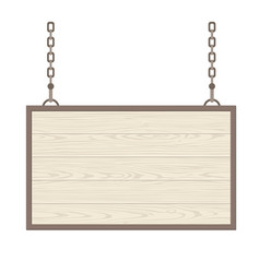 Blank rectangular wooden signboard hanging on vector