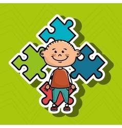 Boy kids puzzle icon vector