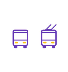Bus and trolleybus icons passenger transport vector