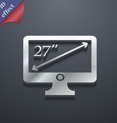 Diagonal of the monitor 27 inches icon symbol 3d vector