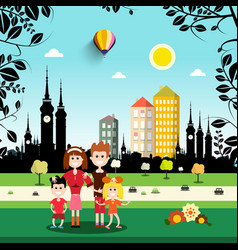 family in city park abstract town on background vector image vector image
